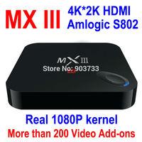 XBMC fully loaded, 1000+live TV, Original Android TV Box MX III,Amlogic S802 1GB/8GB Mali450 GPU 4K HDMI Android 4.4 KitKat,