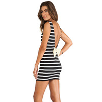 new  summer arrival 2014 bandage bodycon sexy elegant frill casual sleeveless V backless butterfly black and white stripes dress