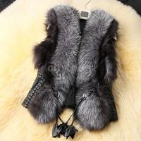 Women Faux Fox Fur Leather Patchwork Vest Outerwear Black Autumn Winter Women Short Design Coat New Plus Size