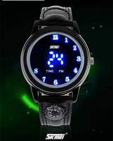 Cool Men LED Watch Original Brand Fashion Digital Leather Wrist watch Vogue Students Favorite Compass Sports Clock Reloj  NW790