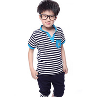 NEW 2014 T shirt+Pant Short sleeve Summer Leisure Boys and girl Sets suit Children stripe Fashion Kids harem pants cotton set