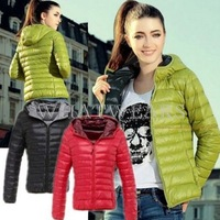 Free Shipping Womens Winter Warm Thin Slim Down Cotton Hooded Coat Jacket Overcoat Parka 70-6204