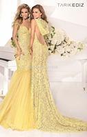 af-72 New Elegant Beads Appliques Mermaid See Through Backless Sweep Train Long Tarik Ediz Lace Evening Dress Party Dresses 2014