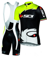 Hot Sale!!!2014 New Men Cycling Bike Summer Short Sleeve cycling Jersey and cycling bib short set Fluorescent yellow SIZE XS-4XL