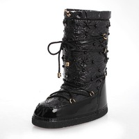 Down leather women Black/White flat snow boots,new 2014 winter Warm woman Fashion Beading/Platforms/Lace-Up shoes,ladies boot