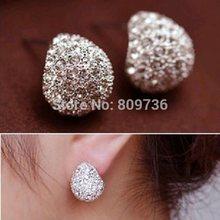 1Pair Hot European Bohemia Elegant Lady Gold/Silver P Crystal Rhinestone Stud Earrings Wedding Party Women Jewelry Free