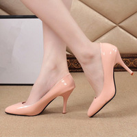 2014 new  women wedding shoes high-heeled shoes sexy nude color with shallow mouth red patent leather shoes ttx129