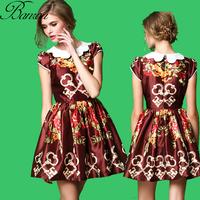 Vintage 50s Dresses with Peter Pan Collar Summer Womens Slim Skater Mini Dress Loyal Printed Pleat One Piece Mini Dress