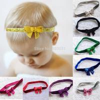 "Hair bows 50pcs/lot Infant baby girsl 2"" Embroideried sequin bows Glitter Velvet headbands Knot Trial order hair accessory prog"