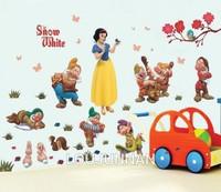 50*70 Free Shipping 1Pcs Princess Snow White Seven Boys Beadroom Living Room Decoration Removable PVC Wall Sticker