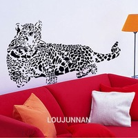 60*90 Free Shipping 1 Pcs Black White leopard Speed Staring Car Decotation Removable Wall Stickers Fancy Home Decoration