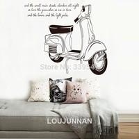 Free Shipping 1Pcs Vespa motorcycle Roman holiday Elegant Removable PVC Wall Stickers Elegant Fancy Home Decoration
