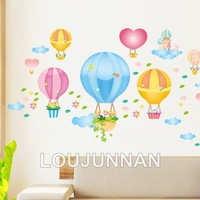 Free Shipping 1Pcs Hot Air Balloon Flower Basket Cloud Heart Beadroom Living Room Decoration Removable PVC Wall Sticker
