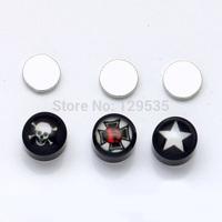 New  Fashion Black 8mm Acrylic Skull Cross Tongue Scorpion Star Smile Cat Tai Chi US Flag Women Men Magnetic earrings 24 styles