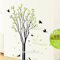 60*90 Free Shipping 1Pcs My Orange Tree Green Flying Bird Falling Leaf Harvest Season Removable PVC Wall Sticker Home Decoration