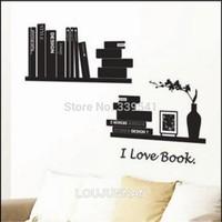 Free Shipping 1Pcs aestheticism Black White Book Shelf I Love Book Bottle Elegant Decoration Removable PVC Wall Sticker
