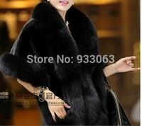 Free shipping Overcoat Women faux fox fur cape mink fur coat  overcoat  lady  long jacket pattern cloak style custom Plus size