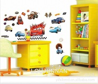 0299 Free Shipping 1Pcs Cute Cartoon Car Team Removable PVC Wall Stickers Home Decoration Gift