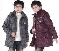 2014 British style kids winter jacket medium-long boy child down coat thickening parkas teenage boy fashion children's clothing
