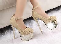 Free shipping Fashion women's night club ds shoes 6ch platform round toe single shoes 16cm ultra high heels rivet t shoes