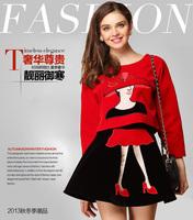 2014 autumn  winter women Velvet Embroidered Blouse+Mini Skirt Suit  women's sets