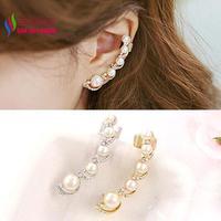 2014 gift fashiona women's elegant gold silver alloy faux pearl sparkle rhienstone earcuffs stud earrings brincos boucles bijoux