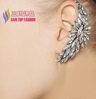 2014 women gift fashionable elegant gold alloy shinning faux crystal hot earcuffs earrings vs stud brincos boucles bijoux