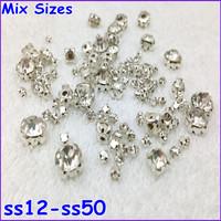 4 different size mix claw rhinestones for wedding dress decoration,700pcs/lot,ss12-ss50 size fancy glass gem stone accessories
