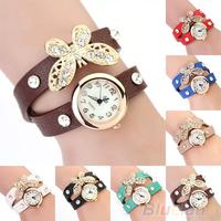 Retro Vintage Type Women's Butterfly Pendant Rhinestone Leather Bracelet Quartz Wrist Watch Clock 1N3H