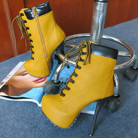 2014 Winter New Arrived Hot Brand Fashion Women's Shoes Sexy Motorcycle Ultra 14.5CM High Heels Platform Ankle Boots Size36-41