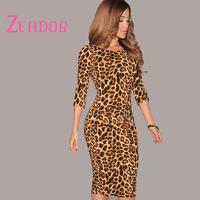 Open V Back Knee Length Long Sexy Leopard Dress Women Three Quater Sleeve Sexy Knee-Length O-neck  woman Dresses Free Shipping