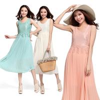 Dresses New Fashion 2015 Summer Sleeveless Sexy Women Chiffon Dress Patchwork Lace Elegant Slim Size Plus Beach Dress 178#