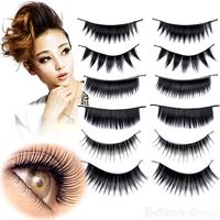 60 Pairs 6 Styles Black Handmade Extension Nature Long False Eyelashes Cilios Makeup Cosmetic Set + 1 Free Eyelash Glue  P54