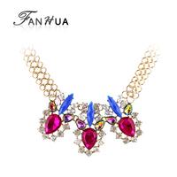 Romantic Multicolor Rhinestone Unique Chains Chokers Necklace New 2014 Summer Luxury Bijoux for Women