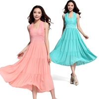 Dresses New Fashion 2015 Summer Sleeveless Sexy Women Chiffon Dress Patchwork Lace Elegant Slim Size Plus Beach Dress 177#