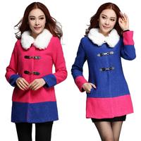 New Arrivals Elegant Winter Overcoat High Quality Detachable Color Block Slim Fur Collar Women's Wool Blends Coat Size Plus 282#