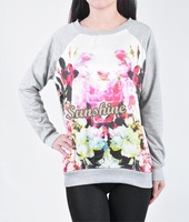 Promotion!Women Sexy Style Summer Autumn Flower Print Long Sleeve blouses Ladies Hoodie T-shit Women Blouse Tops B16 SV005956