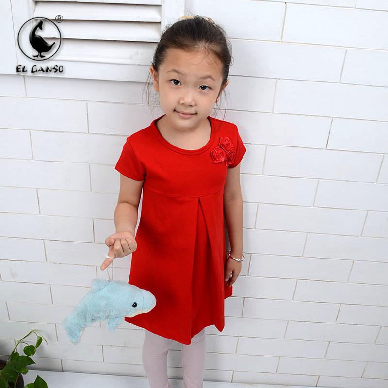 Rouge robes enfants un- ligne courte robe des filles mignonnequalité floralesaccepter poches fantaisie peignée régulière minces. 2014 2t-7t nouvelle robe enfants