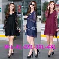 2014 new fashion women autumn long-sleeve lace crochet medium one-piece dress plus size sexy knee-length dress free shipping