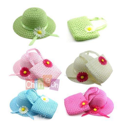 2014 Promotion Lovely Sunflower Kids Girl Cute Summer Beach Sun Protection Straw Hat Flower Cap Bag Glacier Cap(China (Mainland))