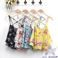 2014 New Summer Sleeveless Sexy Tank Tops Shirts Spaghetti Strap Floral Print Chiffon Blouse Vest Crop Tanks Top camisas 03758