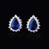 British Princess with classic luxury models zircon earrings fashion Jewelry wholesale high-grade sapphire earrings female