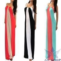 2014 New Sexy Summer Casual Multi Color block Striped Bohemian Dress Mock Women Maxi Long Beach Dresses vestidos de grife 03470