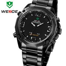 Weide analógico Digital de acero completo rojo fecha alarma día hombres de exterior deportes relojes de cuarzo militar reloj de pulsera de regalo de reloj para hombre
