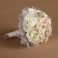 Wedding Bouquets Sale 2014 Real Seconds Kill Cotton Wedding Bouquet Bride Holding Flowers Beaded Series of Supplies Props