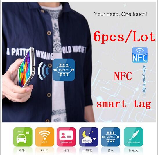 Free shipping (6 pcs) NILLKIN 13.56MHz Nfc Tags Stickers Ntag203 RFID IC Label For Samsung S4 Nokia Lumia LG Nexus4/10 HTC Sony(China (Mainland))