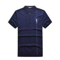 Zilli men's clothing t-shirt summer short-sleeve 2014 male turn-down collar silk commercial fashion