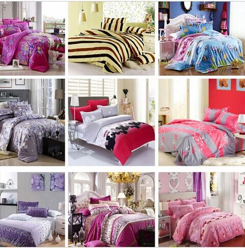 Free Shipping Reactive Printing Bedding Set duvet cover set Bed linen Sheet Bedding(China (Mainland))