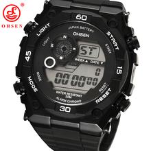 2014 alto Fasion relojes Original oficial militar Ohsen Dual Core para hombre reloj deportivo fecha día alarma cronómetro goma reloj
