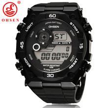 2014 nuevos Mens relojes deportivos OHSEN marca de alarma cronógrafo Digital LED exterior vestido reloj reloj militar del Relogio Masculino